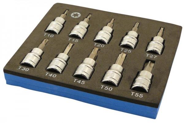 Torx® Stecknüsse 3/8 Zoll T10 - T55 in Werkstattwagen-Einlage