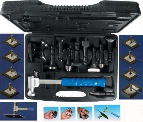 Ausbeulhammer Set 11 tlg. Ausbeulwerkzeug mit Schnellspanner