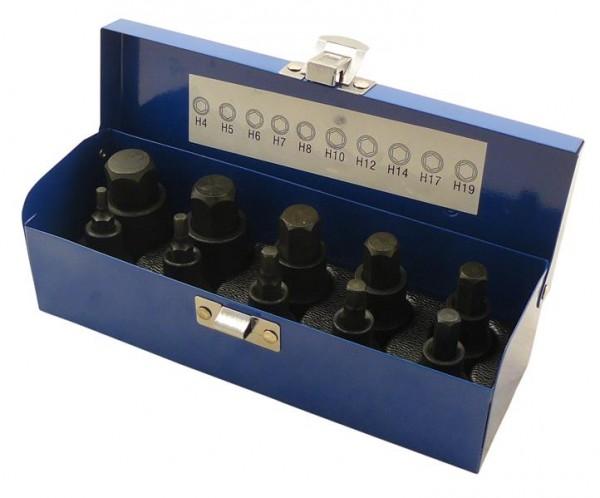 Kraft Steckschlüssel Set 10 tlg. 1/2 Zoll Antrieb für Inbus-Schrauben