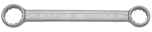 Doppelringschlüssel, gerade DIN 837, ELORA-120-24x27 mm