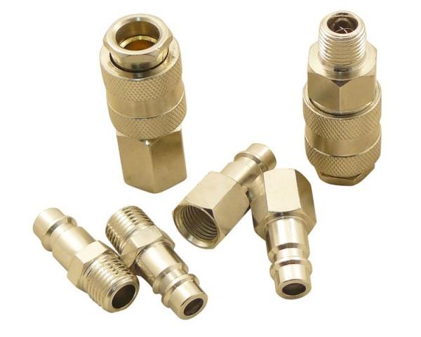 Druckluftanschlüsse DN 7.2 Set 6 tlg. 1/4 Zoll | Stecknippel / Kupplungen