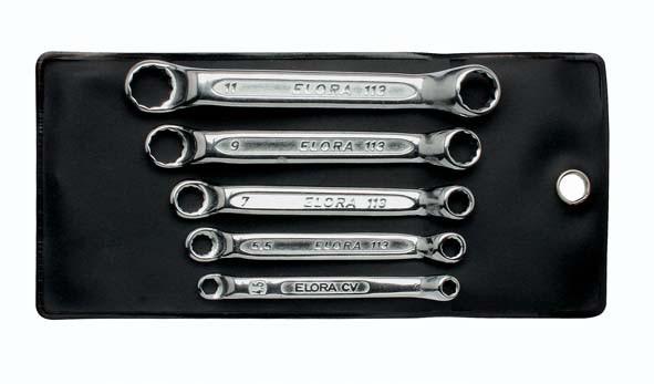 Doppelringschlüssel-Satz, extra kurz, 5-teilig 4-11 mm, ELORA-113S 5M