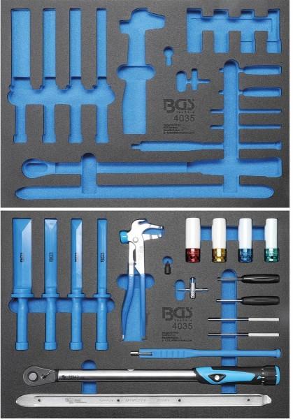 3/3 Werkstattwageneinlage leer / gefüllt mit Reifendienstwerkzeuge Set 18 tlg.