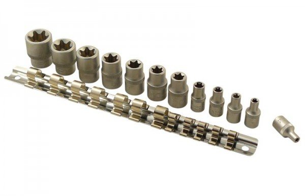 Spezial Steckschlüsseleinsatz Set 12tlg. E-Profil 1/4 + 3/8 Zoll