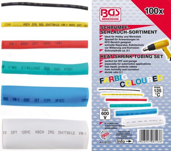 Schrumpf-Schlauch-Sortiment, farbig, 100-tlg.