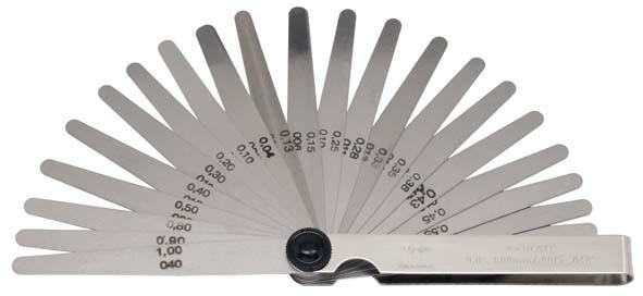 Fühlerblattlehre mm und zoll, 25-teilig 0,04-1,00 mm + 0,0015-0,0400 zoll, ELORA-188MZ-25