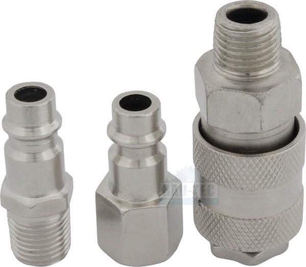 Druckluft Stecknippel & Kupplungs-Set 3 tlg. | 1/4 Zoll IG / AG