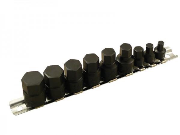 Schlagschrauber Bits für Inbus-Schrauben Set 9 tlg. 1/4 + 3/8 Zoll