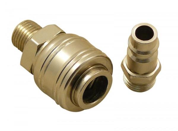 Druckluft Stecknippel und Schnellkupplung mit 1/4 Zoll AG