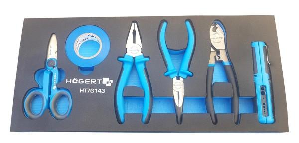 Shadowboard gefüllt mit Werkzeug | Zangen, Abisolierer, Isolierband, Schere