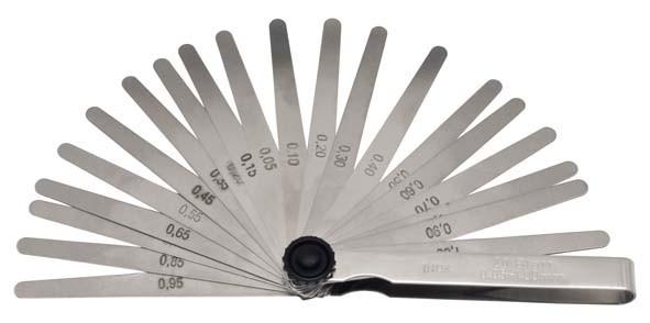 Fühlerblattlehre, rostfrei, 13-teilig 0,05-1,00 mm, ELORA-188R-13M